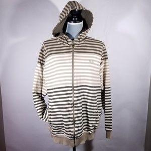 Adidas Brown Striped Trefoil Hoodie Sweatshirt
